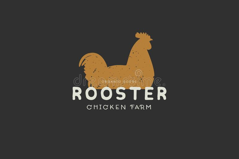 Logo template with hand drawn silhouette of rooster in vintage style on dark background. stock illustration