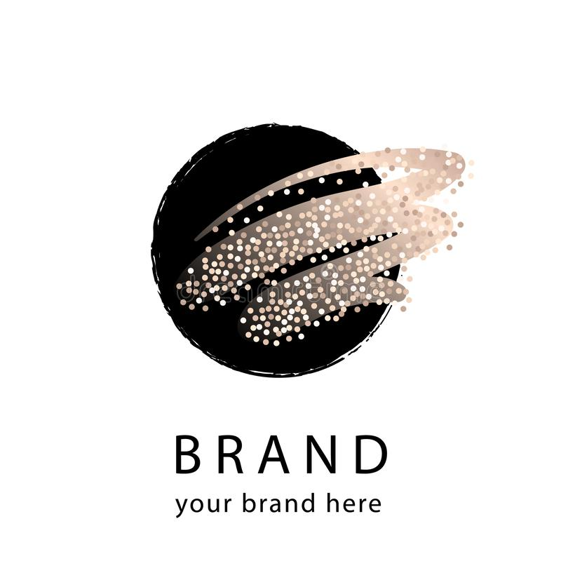 Free Logo Template In Black And Gold Artistic Style. Feminine Logotype For Beautiful Brand Stock Photography - 161711762
