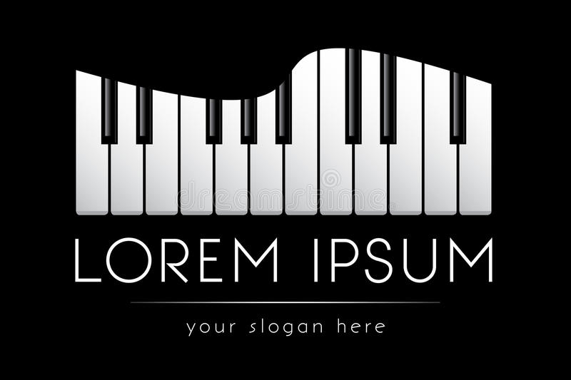 Logo template, music, grand piano keys, vector royalty free illustration