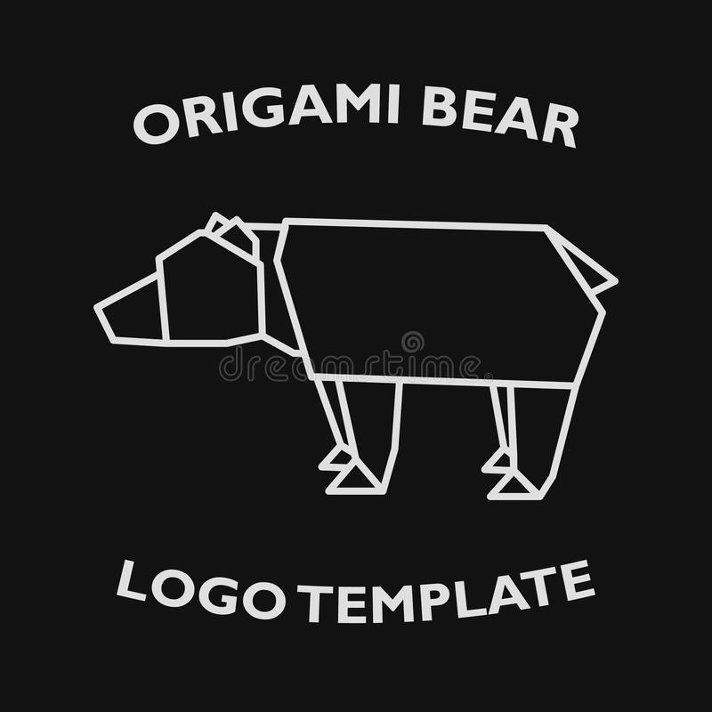 Logo template of origami bear in modern linear flat style. Vector illustration. Eps10 royalty free stock photography
