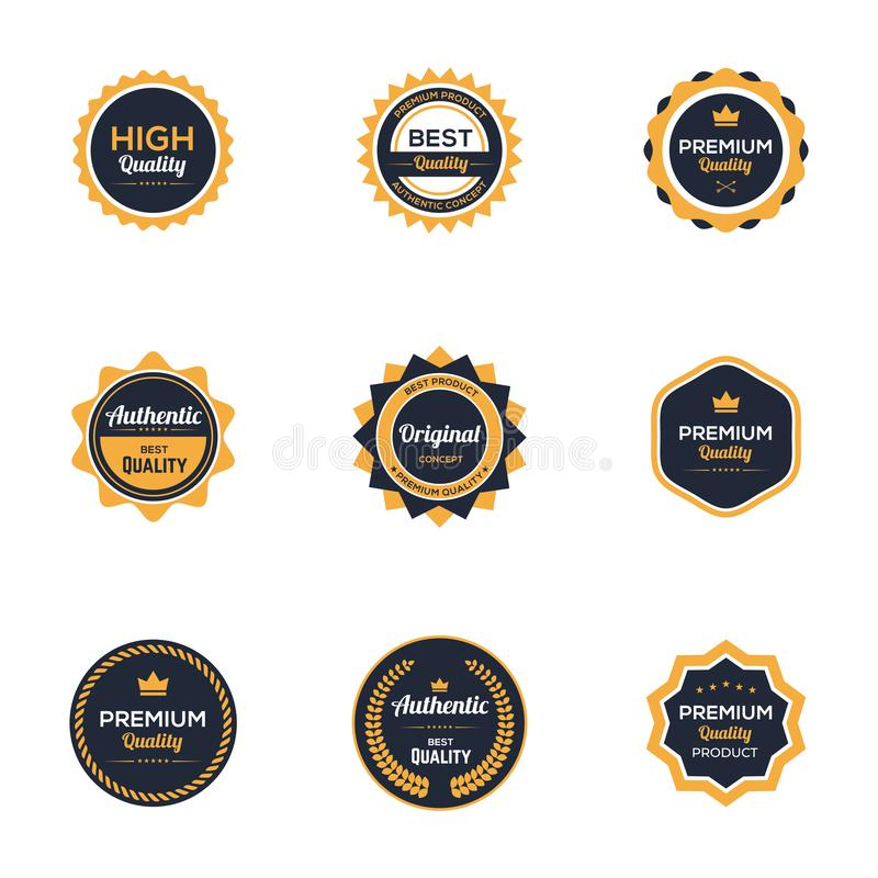 Logo Template Premium Quality Authentic för Retro emblem för tappning original- produkt royaltyfri illustrationer