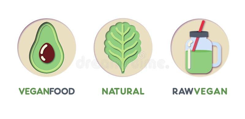 Logo Template Set cortado papel con la comida verde de Eco Símbolos sanos de la consumición de la papiroflexia para calificar, fo ilustración del vector