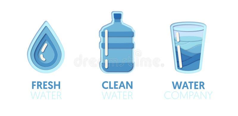 Logo Template Set coupé par papier avec de l'eau l'eau propre Symboles sains de consommation d'origami pour stigmatiser, brochure illustration stock