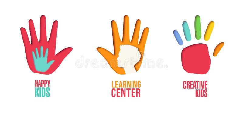 Logo Template Set coupé par papier avec des mains d'enfants Symboles d'enfants d'origami pour stigmatiser, brochure, identité illustration libre de droits