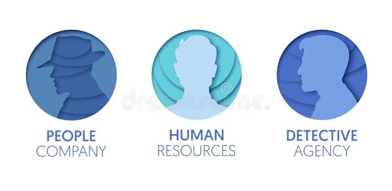 Logo Template Set coupé par papier avec des personnes Symboles humains de tête d'homme d'origami pour stigmatiser, brochure, iden illustration stock