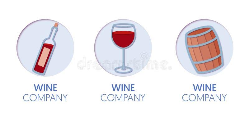 Logo Template Set coupé par papier avec du vin Symboles d'établissement vinicole d'origami pour stigmatiser, brochure, identité illustration de vecteur