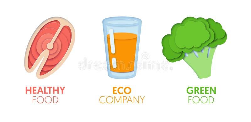 Logo Template Set coupé par papier avec la nourriture verte d'Eco Symboles sains de consommation d'origami pour stigmatiser, broc illustration stock
