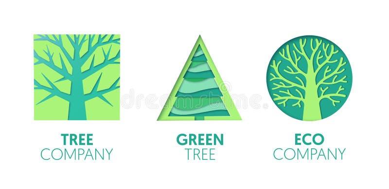Logo Template Set coupé par papier avec les arbres verts Symboles d'Origami Eco Company pour stigmatiser, brochure, identité illustration stock