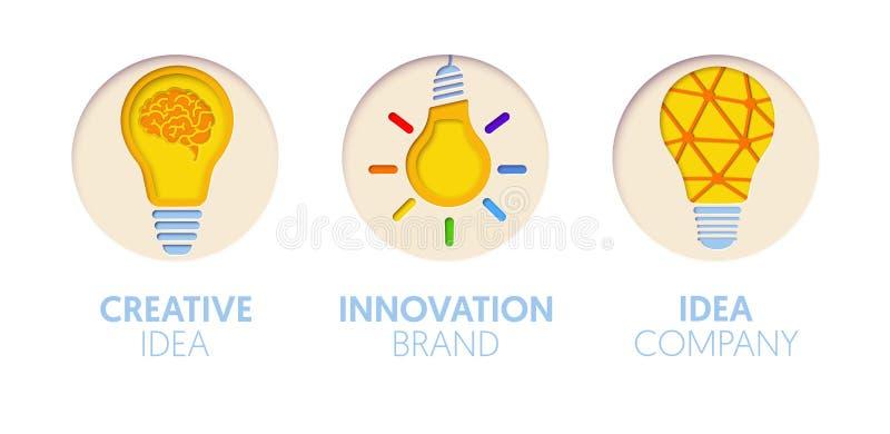 Logo Template Set tagliato carta con le lampadine Simboli creativi di idea di origami per marcare a caldo, opuscolo, identità illustrazione vettoriale