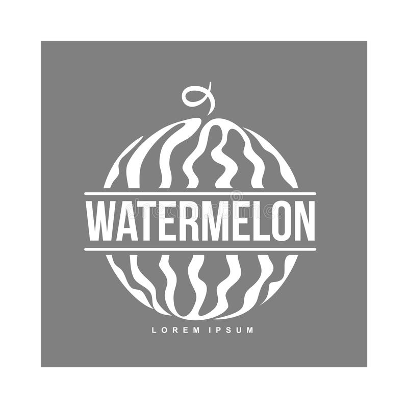 Logo template with side view of stylized striped watermelon royalty free illustration