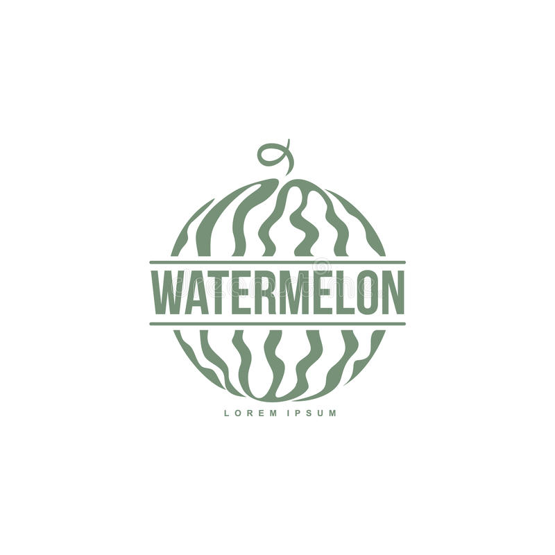 Logo template with side view of stylized striped watermelon stock illustration
