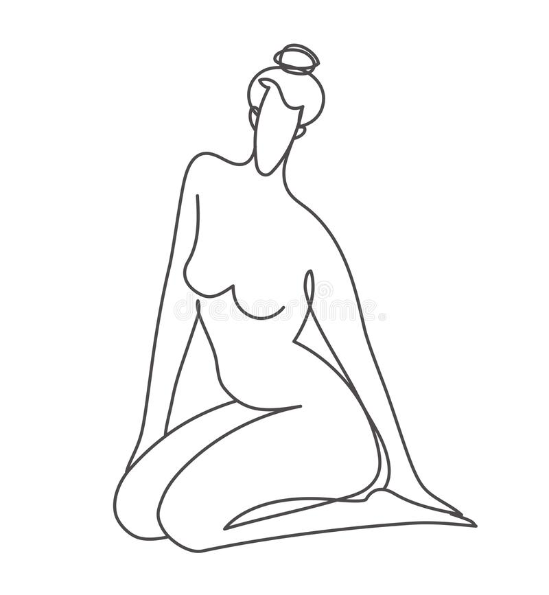 Logo Template Of Sitting Nude Woman In Line Art Style Stock Vector Illustration Of Logo Massage 157122471