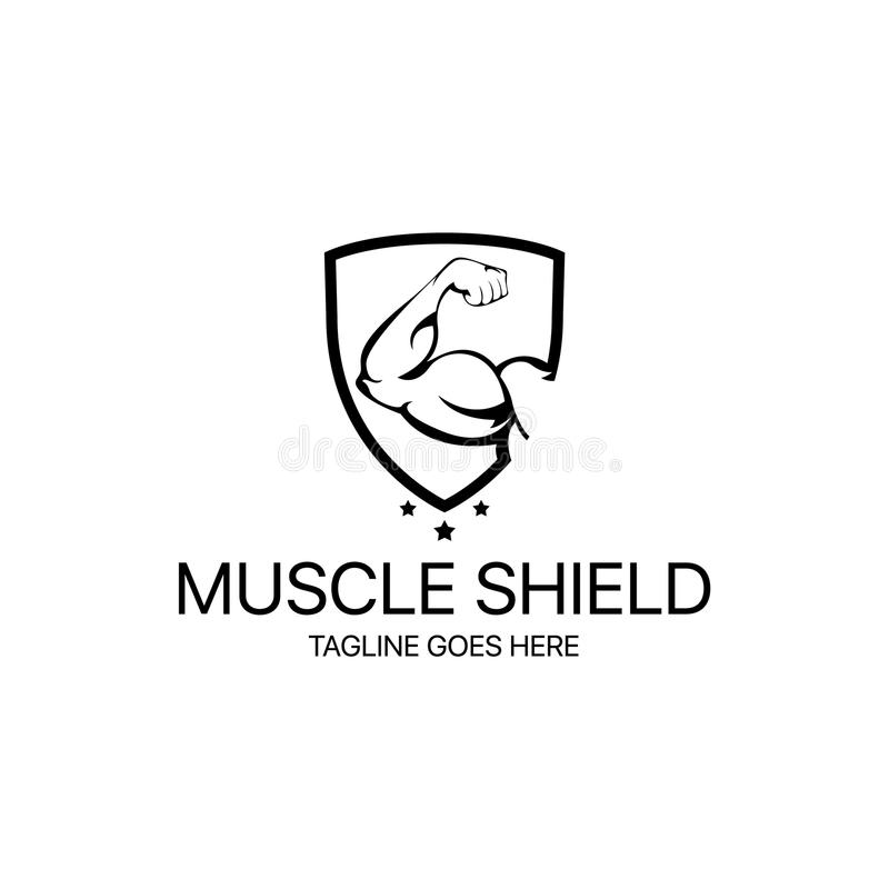 Muscle Shield Logo. Logo template suitable for businesses and product names. Easy to edit, change size, color and text royalty free illustration