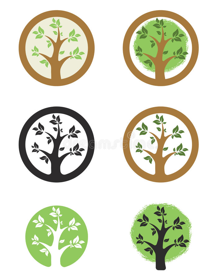 Logo template with tree i circle. Eco life style sign. royalty free illustration