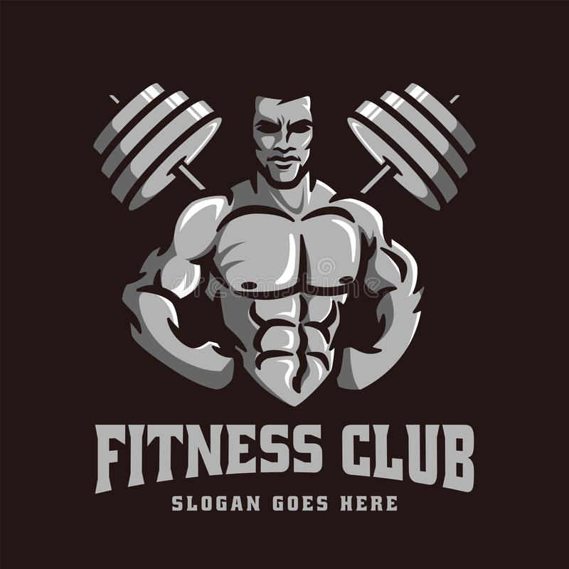 Logo template vector of Bodybuilder gym fitness theme, with muscle man character and barbell vector illustration