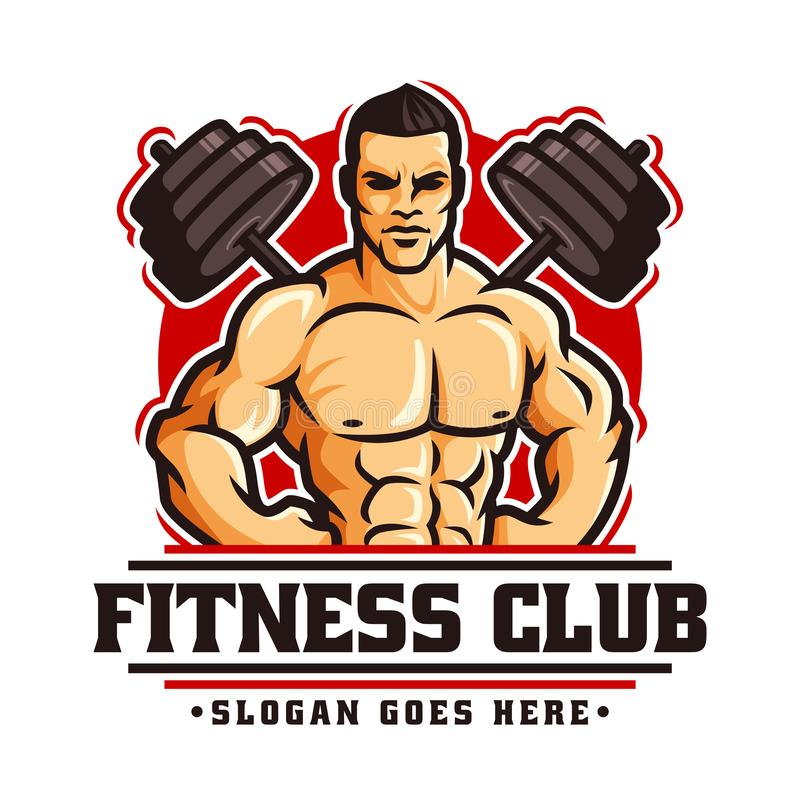 Logo template vector of Bodybuilder gym fitness theme, with muscle man character and barbell stock illustration