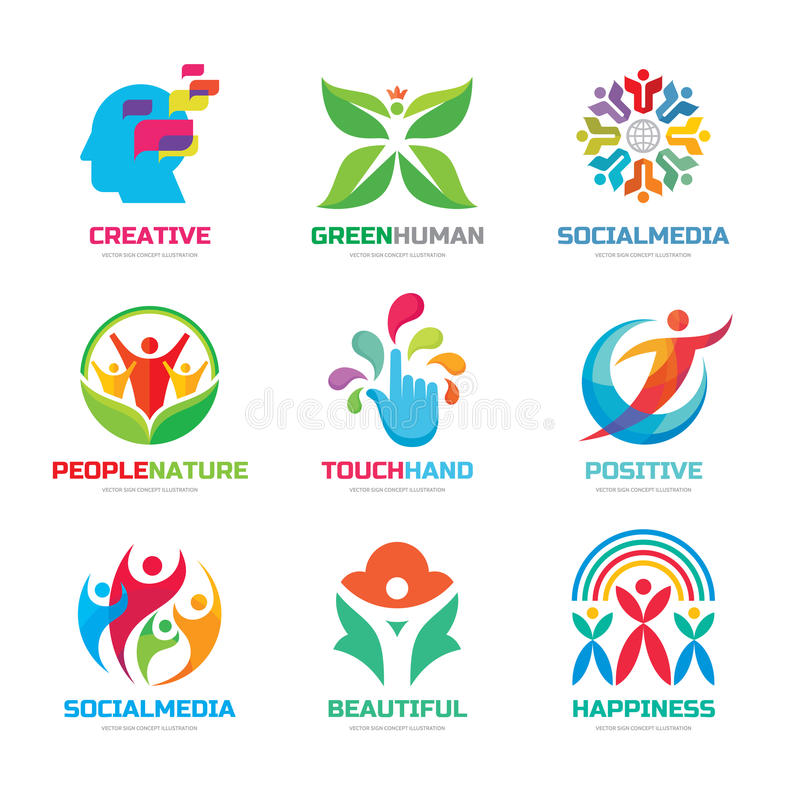 Logo template vector set collection - creative illustrations. Human character, social media people, hand touch, flower and royalty free illustration
