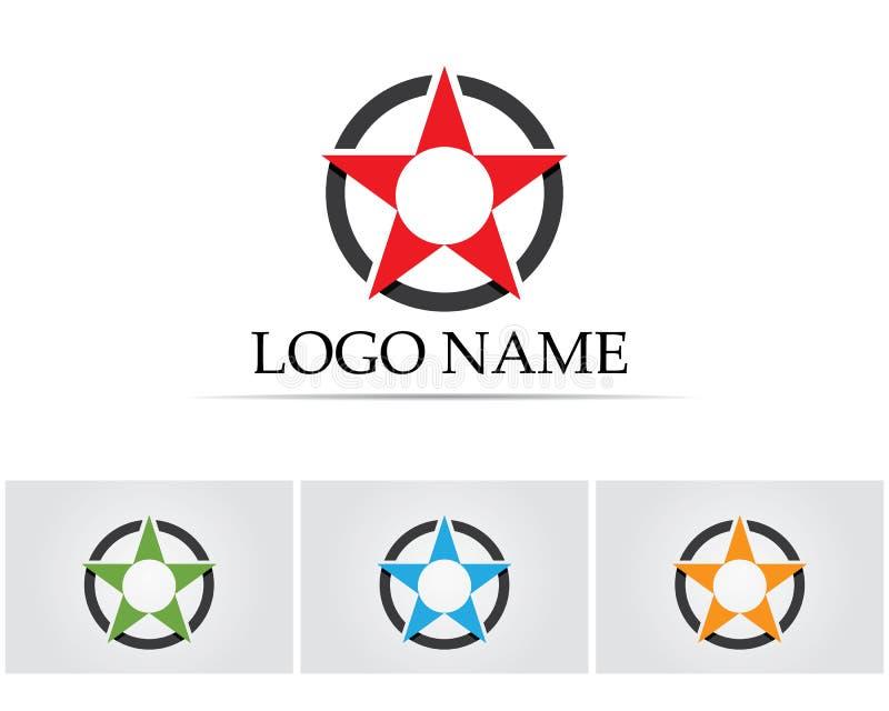 Logo Template-Vektorikone Falke des roten und blauen Sternes lizenzfreie abbildung