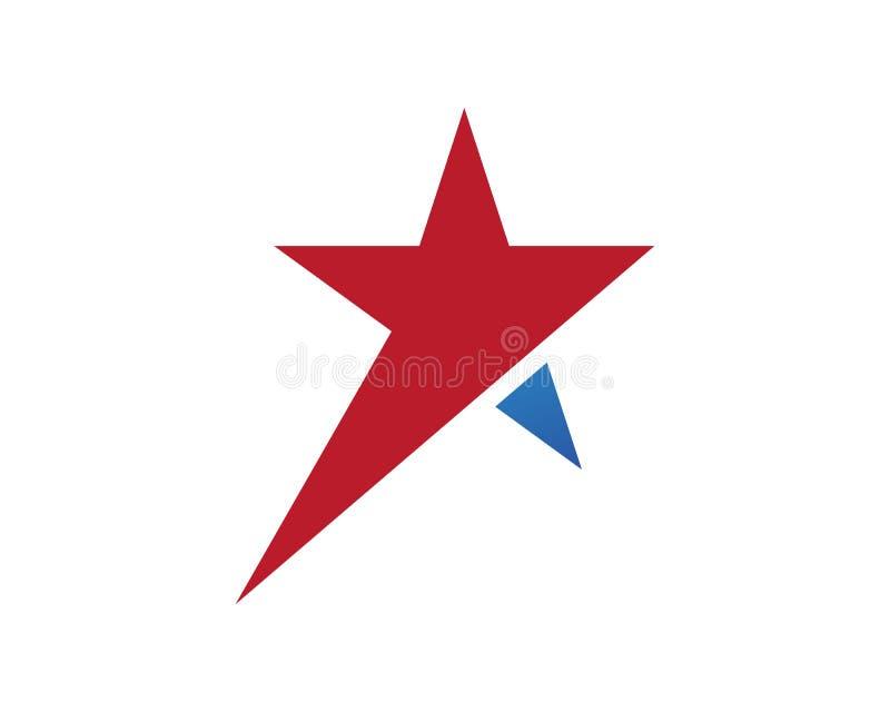 Logo Template-Vektorikone Symbole des roten und blauen Sternes vektor abbildung