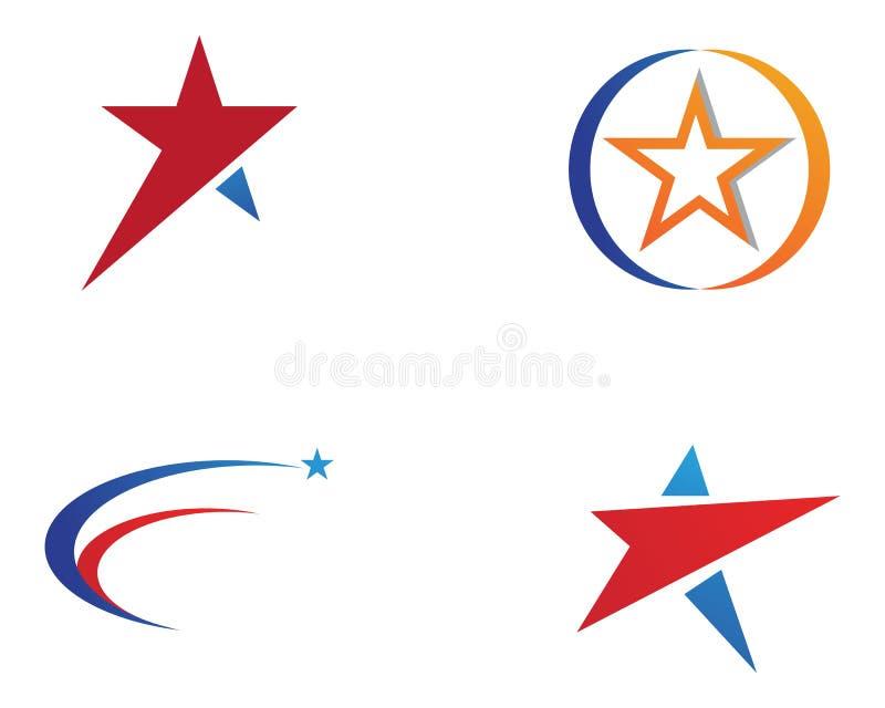 Logo Template-Vektorikone Symbole des roten und blauen Sternes stock abbildung
