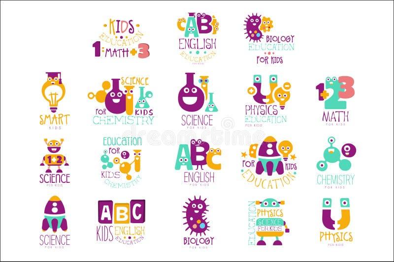Logo Templates In Colorful Cartoon för klubba för program för ungevetenskapsutbildning extra stil med att le tecken vektor illustrationer