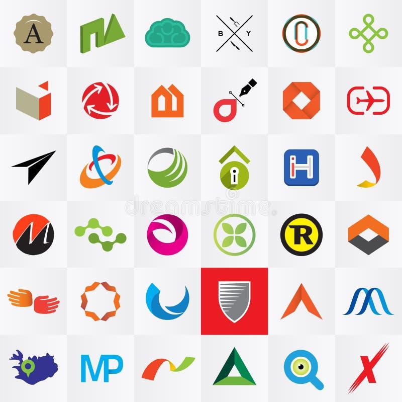Logo templates. 36 company logotypes. Various shapes and colors royalty free illustration