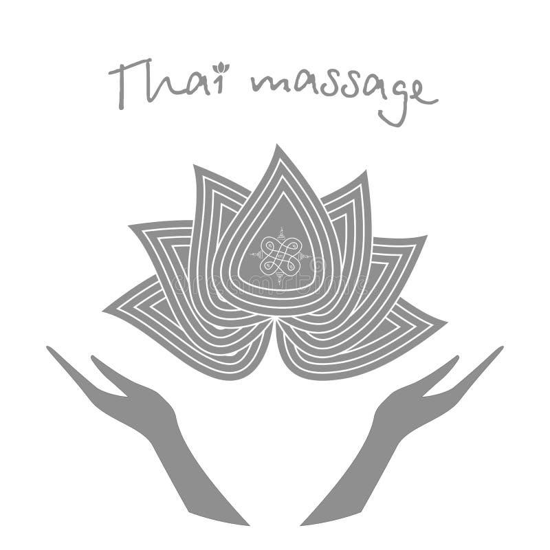 Logo Thai massage Stiliserade lotusblommablomma och händer Autentisk thai massage stock illustrationer