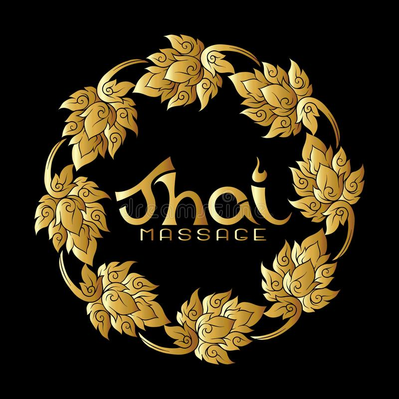 Logo for Thai massage with traditional thai ornament, pattern element in gold. Stock vector illustration. r royalty free illustration