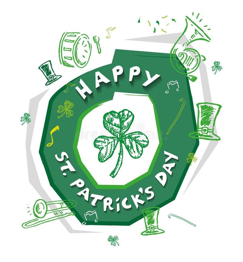 Logo Theme de St Patrick feliz Clipart editável do dia ilustração royalty free