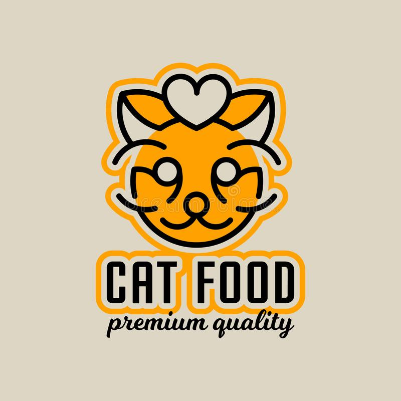 Logo on the theme of food for cats. The head of the cat, heart. Vector illustration. Line style vector illustration