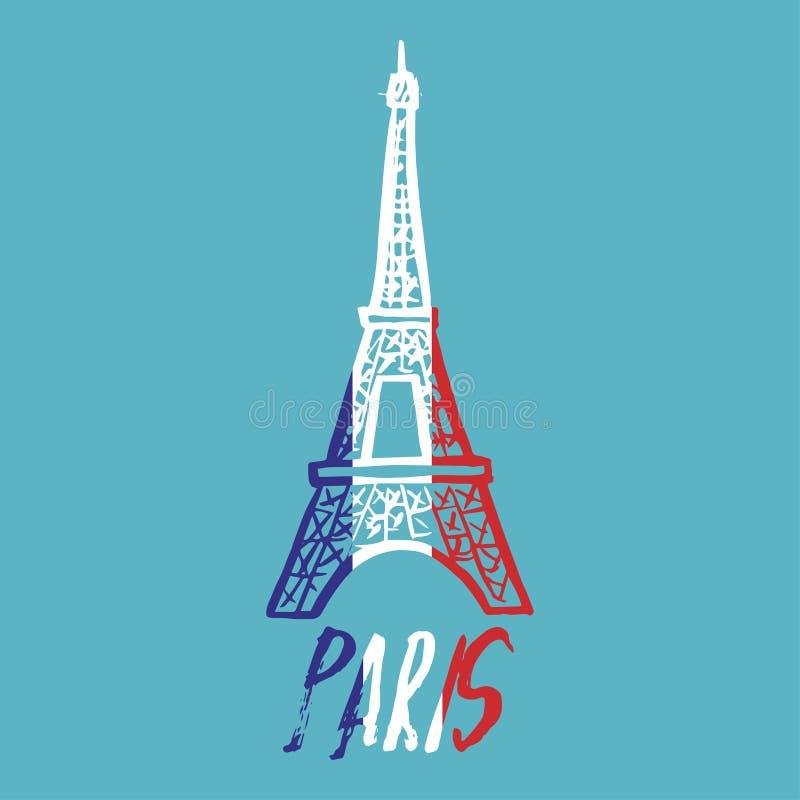 Logo tiré par la main de concept avec Tour Eiffel avec le texte Paris illustration de vecteur