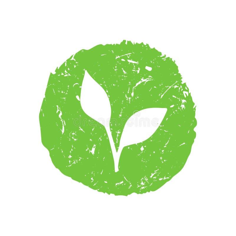 Logo tiré par la main de vecteur de vert d'impression de T-shirt d'Eco illustration libre de droits