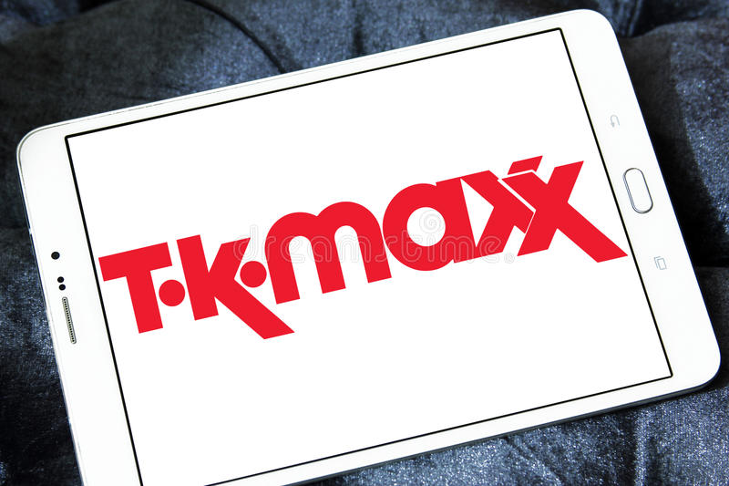 TK Maxx retail company logo. Logo of TK Maxx retail company on samsung tablet. TK Maxx, often stylised as `t·k·maxx`, is a subsidiary of the American royalty free stock photos