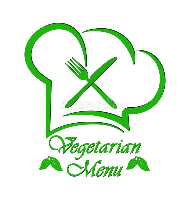 Logo to design a Vegetarian menu restaurant, catering or gastroservice. Flat design stock illustration
