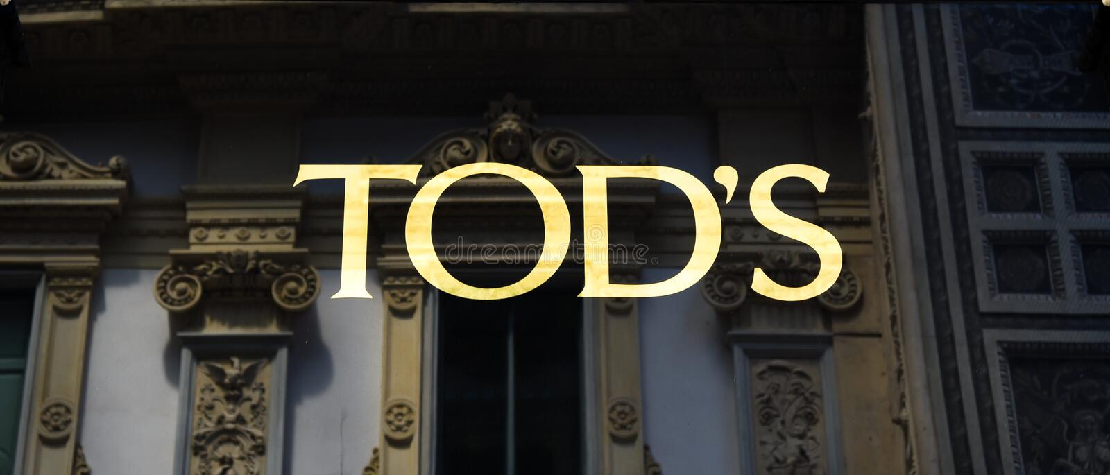 Logo Tod`s Milano in Gallery Emanuele II Italy royalty free stock photography
