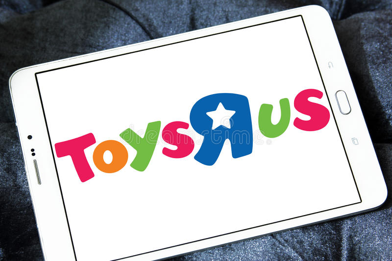 Toys R Us kids store logo. Logo of Toys R Us kids store on samsung tablet. Toys `R` Us, Inc. is an American toy and juvenile-products retailer. it is the leading stock image
