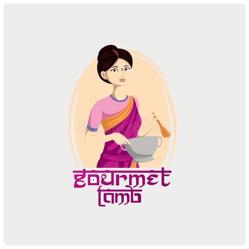 Logo Traditional Indian Food lizenzfreie abbildung