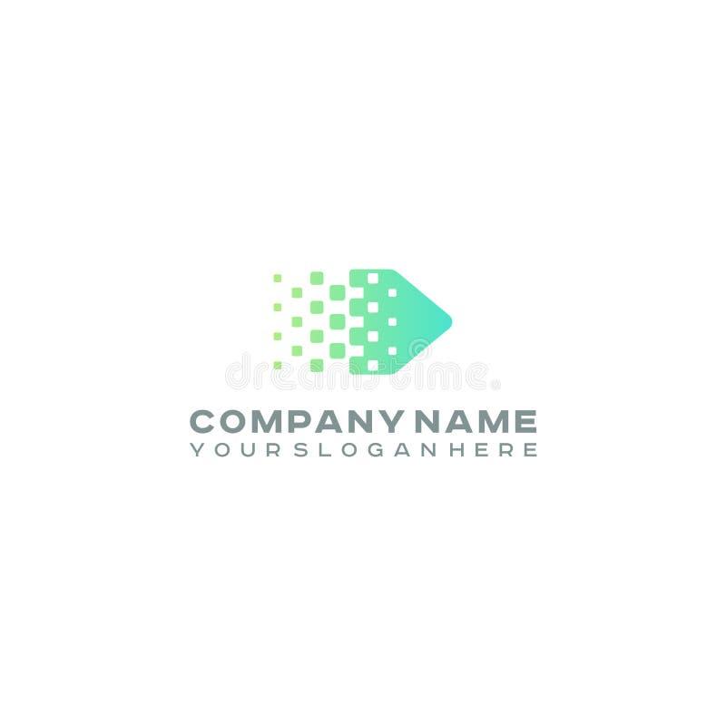 Logo tramé de flèche, points colorés de gradient, technologie de pixels et logotype numérique illustration stock