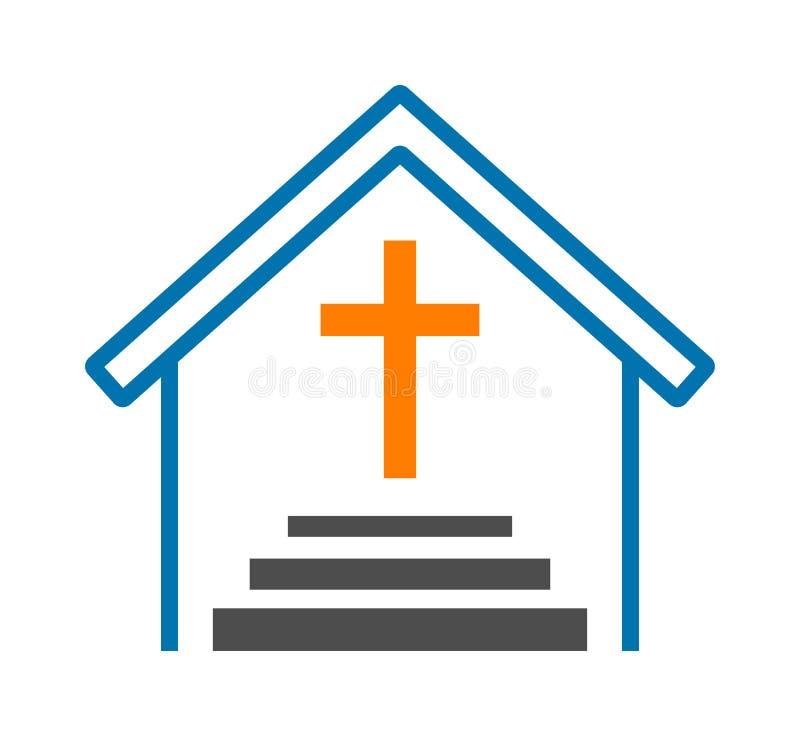 Logo trasversale della chiesa illustrazione di stock