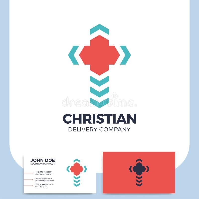 Logo trasversale di consegna Logotype di Pin della chiesa Ico di Christian Location illustrazione di stock