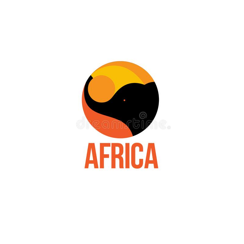 Africa logo. Elephant emblems. Silhouette of an elephant with letters on a circle. stock illustration
