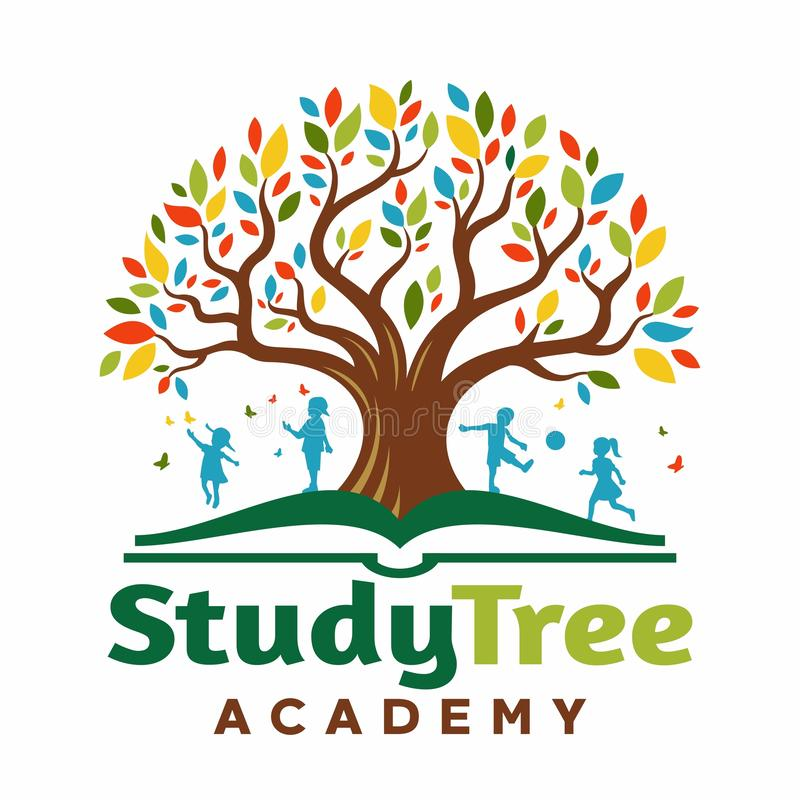 Logo Tree in the book with children playing vector illustration