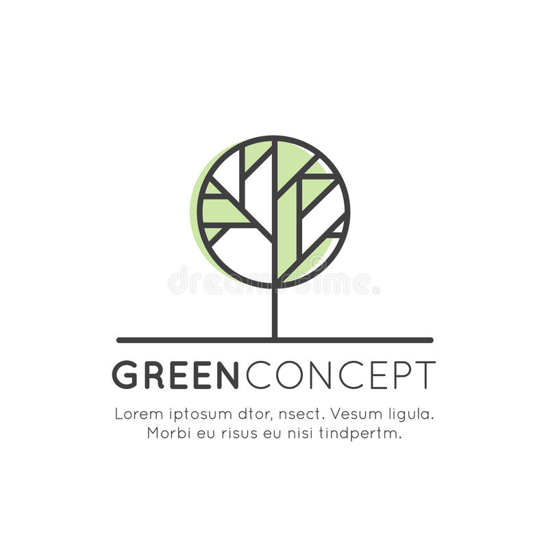 Logo Tree and Forest Concept - Ecology and Green Energy in Trendy Linear Style with Leaf Plant Element, Anti Deforestation Banner stock illustration
