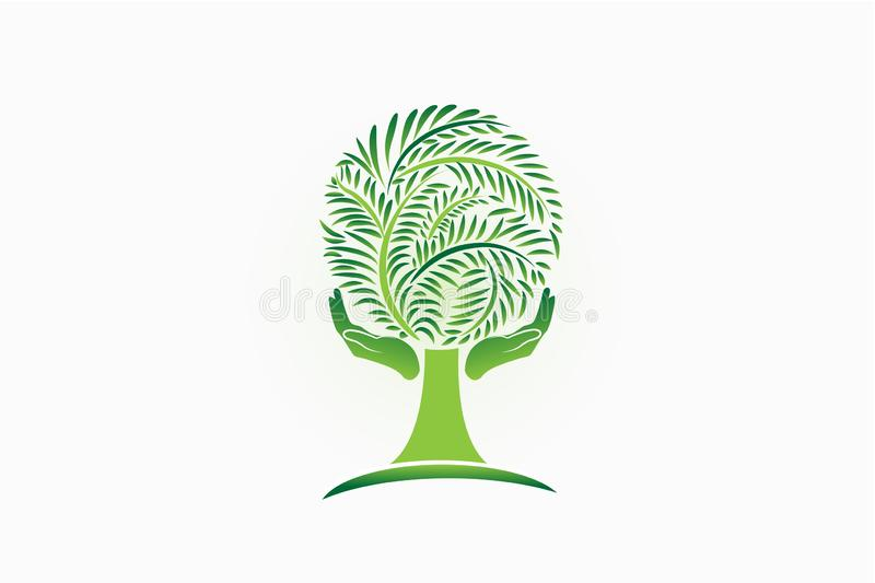 Logo tree people hand care symbol icon vector template. Ecology concept. Tree logo people hand care symbol icon vector template. Ecology concept vector illustration