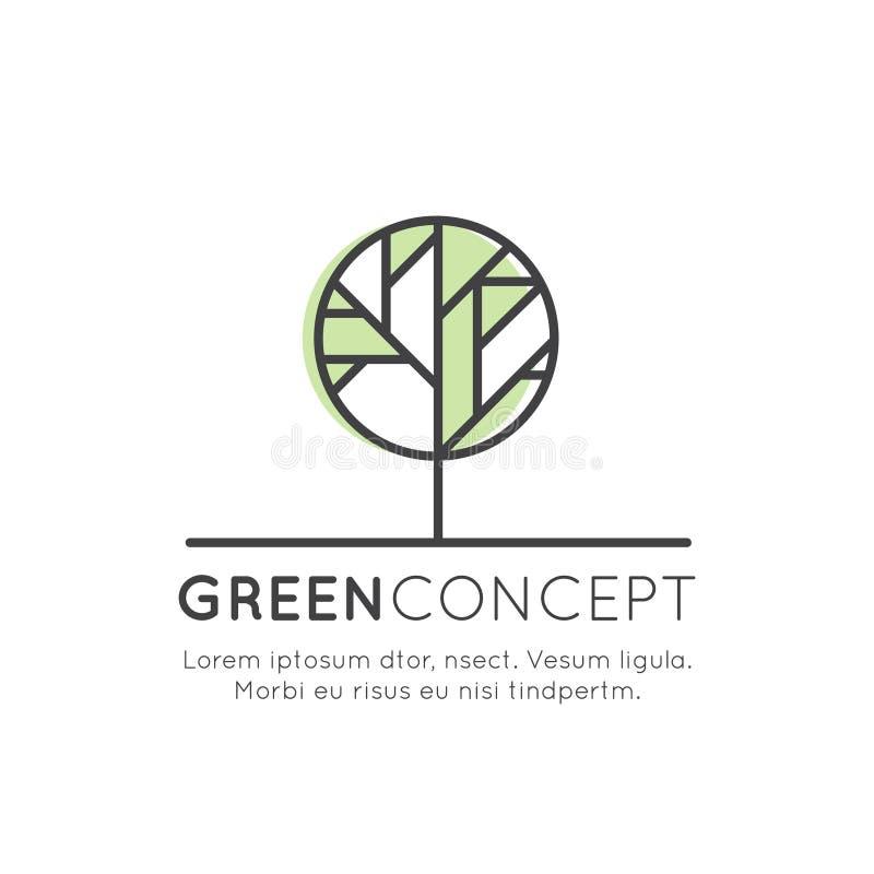 Logo Tree y Forest Concept - ecología y energía verde en estilo linear de moda con el elemento de la planta de la hoja, bandera a stock de ilustración