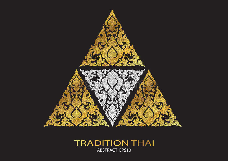 logo triangle shape abstract line thai tradition pattern background vector illustration