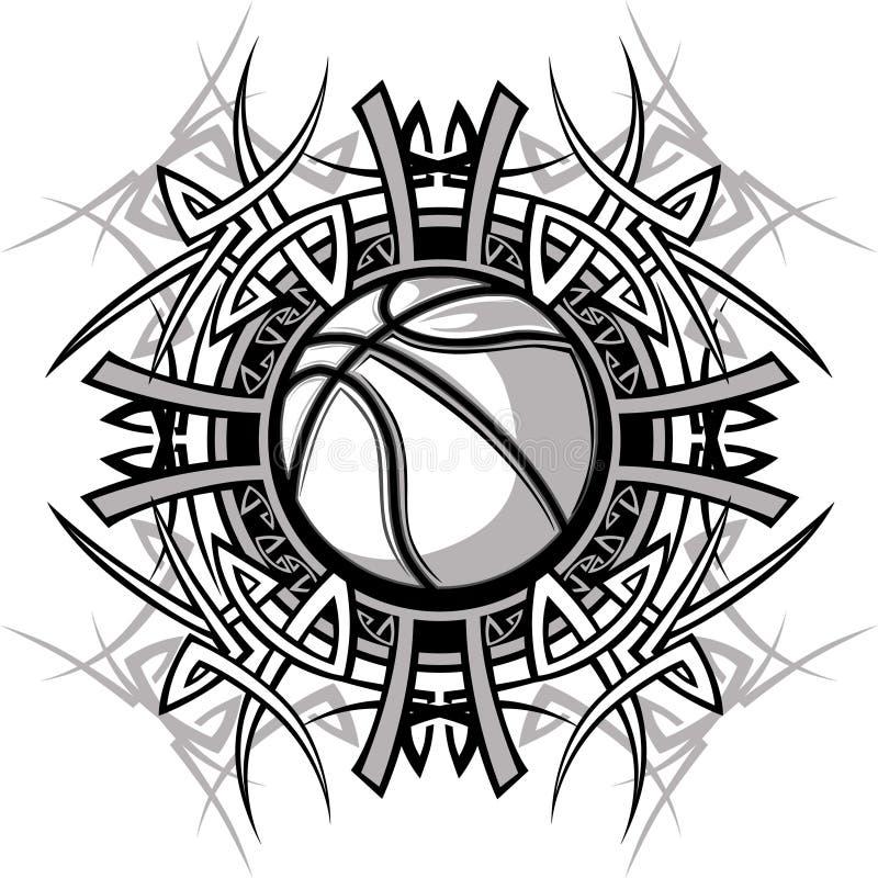 Logo tribal de vecteur de bille de basket-ball illustration libre de droits