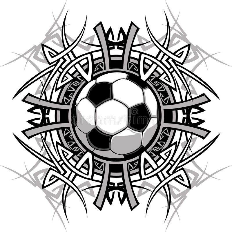 Logo tribal de vecteur de bille de football illustration libre de droits