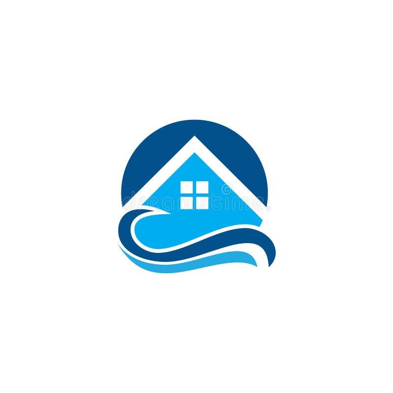 Logo tropicale della località di soggiorno dell'onda della Camera illustrazione di stock