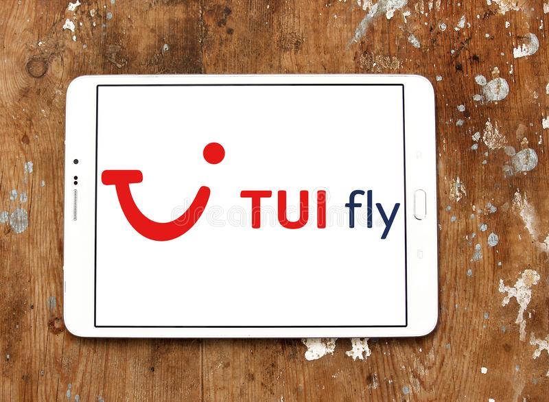 TUI fly logo. Logo of TUI fly on samsung tablet stock images